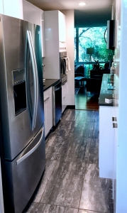 new refrigerator with white kitchen cabinets